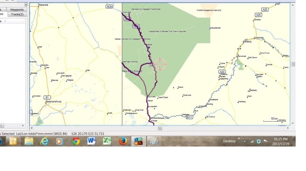 Map of Kgalagadi Transfrontier Park